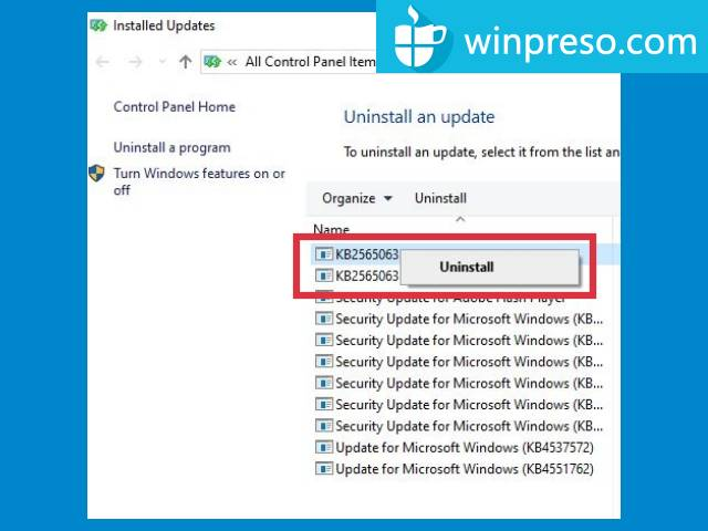 cara uninstall update di windows 10