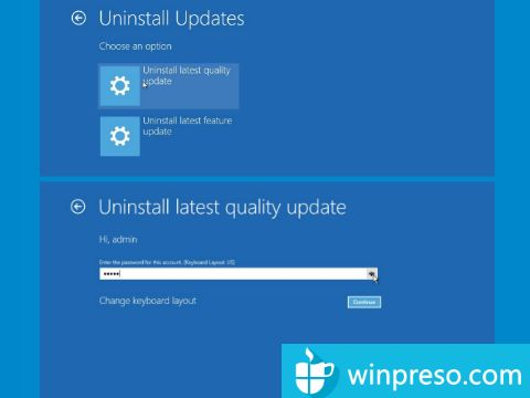 cara uninstall update windows 10 dengan winre