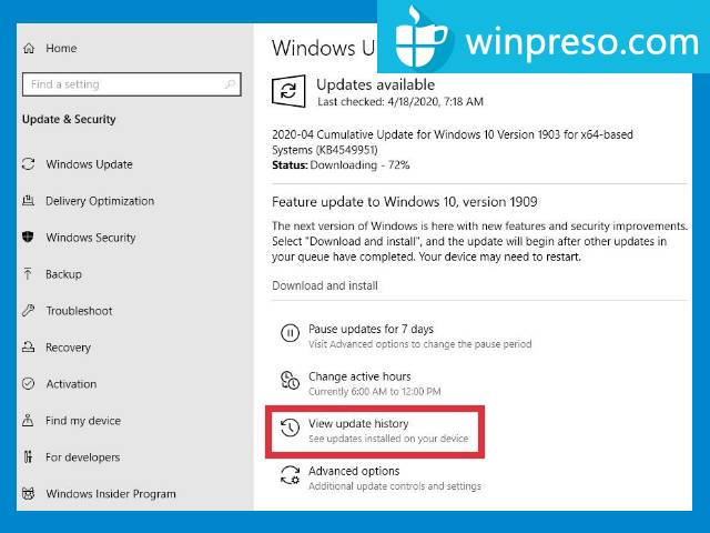 cara uninstall update windows 10