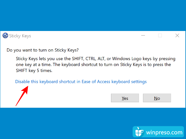 cara mematikan sticky keys windows 10