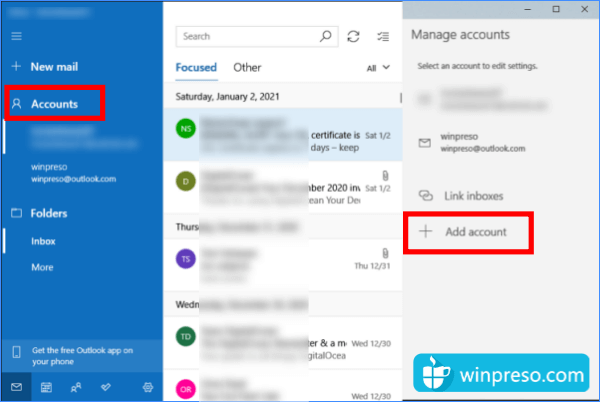 setting email windows 10
