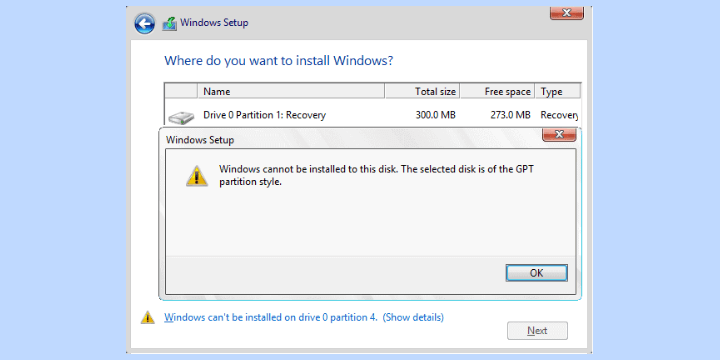 mengatasi windows cannot be installed on this disk